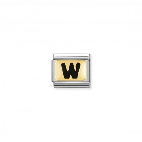 Composable_Classic_Link_letter_W_Black_Link_with_initial_in_yellow_Gold_750_and_enamel