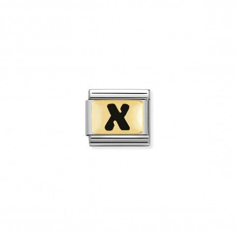 Composable_Classic_Link_letter_X_Black_Link_with_initial_in_yellow_Gold_750_and_enamel