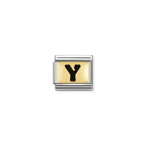 Composable_Classic_Link_letter_Y_Black_Link_with_initial_in_yellow_Gold_750_and_enamel