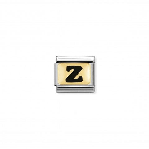Composable_Classic_Link_letter_Z_Black_Link_with_initial_in_yellow_Gold_750_and_enamel