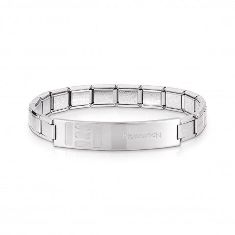 Trendsetter_Stainless_Steel_Bracelet_with_shiny_small_bars_Bracelet_for_him_with_Composable_Links