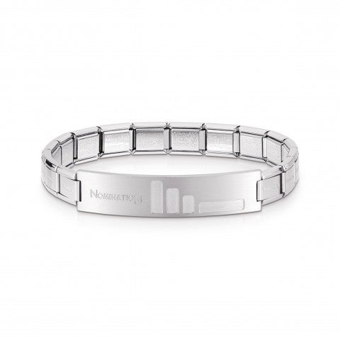 Trendsetter_Stainless_Steel_Bracelet_with_small_bars_Bracelet_for_him_with_satin-finished_plaque
