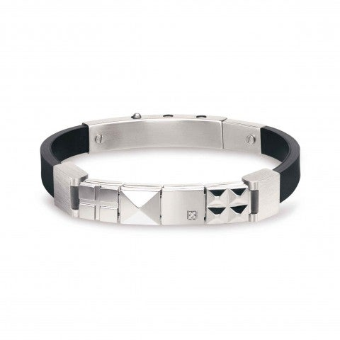 Mansoho_Rubber_Bracelet_with_Diamond_Bracelet_in_rubber_and_stainless_steel_with_raised_design