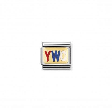 Link_Composable_Classic_con_sigla_YWC_Link_in_Oro_giallo_e_Smalto_colorato