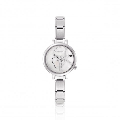 Watch_with_Composable_Bracelet_and_leather_strap_Watch_dial_with_mother_of_pearl_and_Cubic_Zirconia.