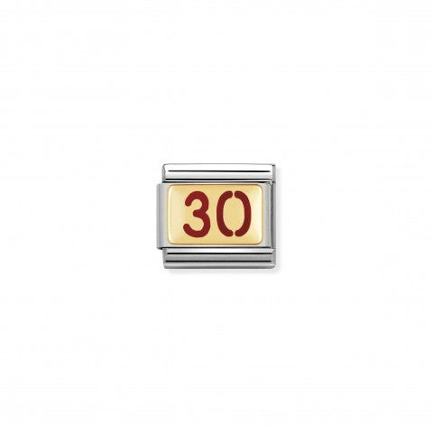 Composable_Classic_Link_Number_30_in_red_Enamel_Birthday_Numbers_Link_with_18K_gold_and_enamel