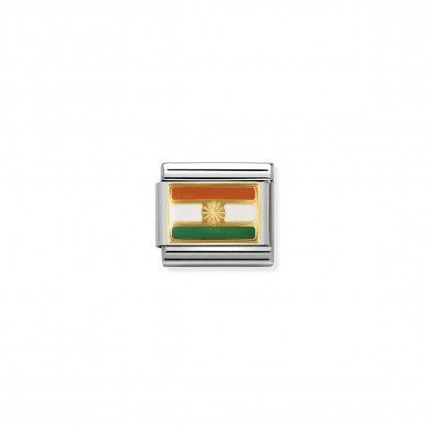 Link_Composable_Classic_Bandiera_India_Link_in_Acciaio_e_Oro750_con_una_bandiera_asiatica