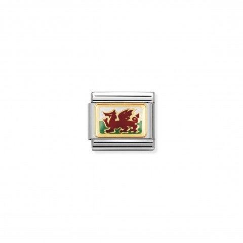 Link_Composable_Classic_Bandiera_Galles_Link_rilievo_con_una_bandiera_europea