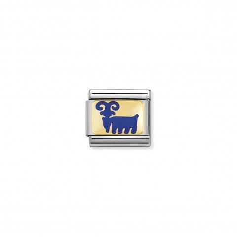 Link_Composable_Classic_Capra_blu_Link_con_Smalto_blu_e_Oro