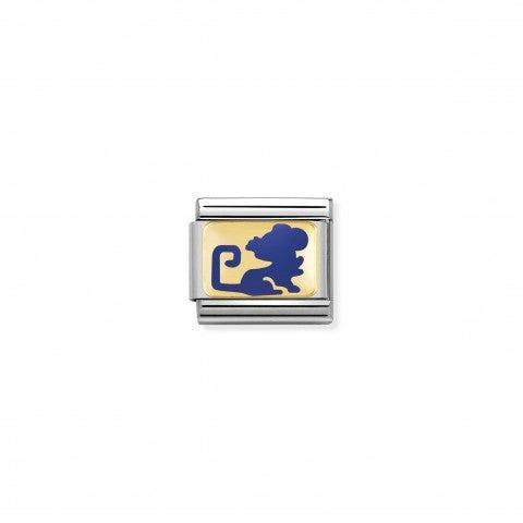 Link_Composable_Classic_Topo_blu_Link_con_simbolo_cinese_in_Smalto_e_Oro_giallo