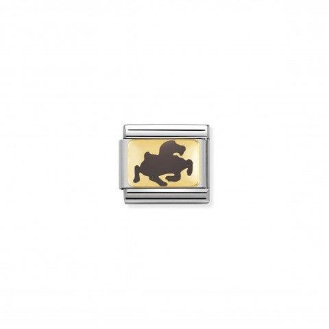 Link_Composable_Classic_Cavallo_grigio_Link_con_simbolo_in_Oro_giallo_e_Smalto