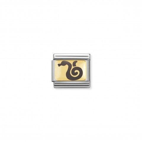 Link_Composable_Classic_Serpente_grigio_Link_in_Oro_giallo_e_Smalto_con_simbolo_cinese