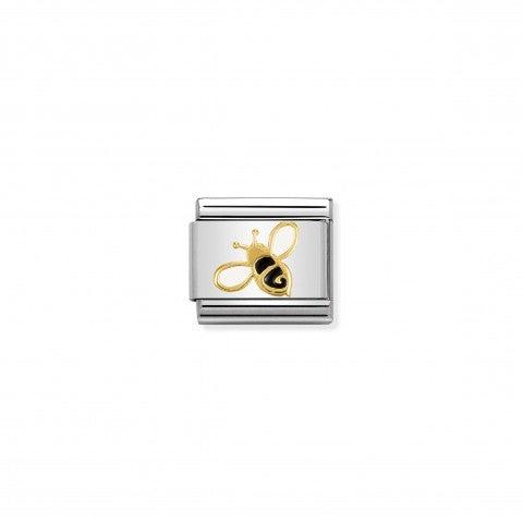 Link_Composable_Classic_Ape_Link_con_simbolo_in_Acciaio_e_Smalto_bianco_e_nero