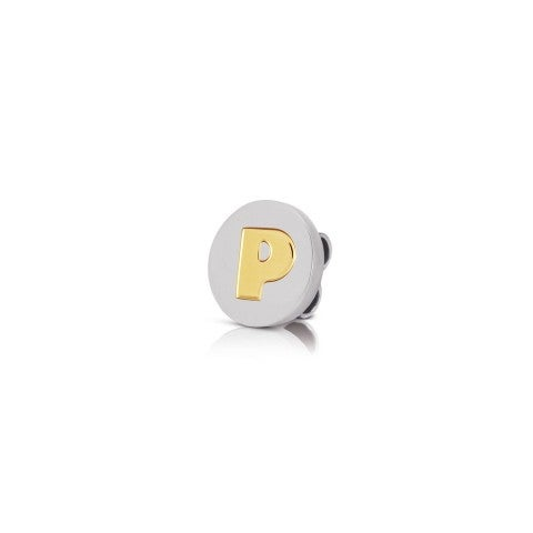 Charm_MyBonBons_with_Letter_P_in_Gold_Charm_MyBonBons_in_stainless_steel_with_disk_in_18K_gold