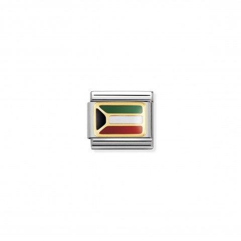 Link_Composable_Classic_Bandiera_Kuwait_Link_con_bandiera_Kuwait_in_Acciaio_e_Oro750