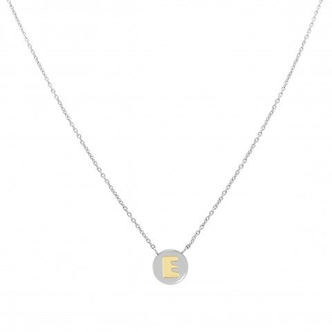 Necklace_with_Letter_E_in_Gold_Necklace_in_stainless_steel_with_Letter_in_18K_gold