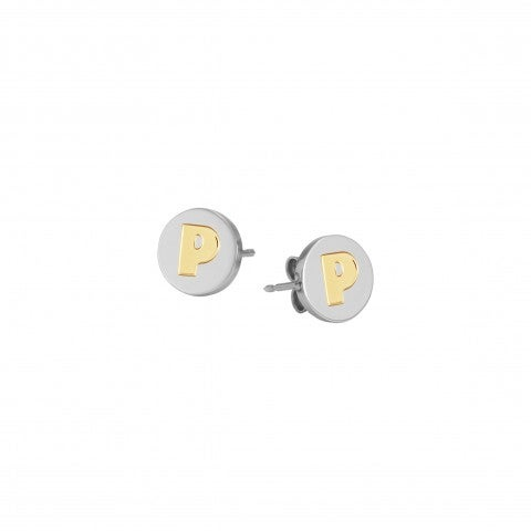 Earrings_with_Letter_P_in_Gold_Earrings_in_stainless_steel_with_disk_in_18K_gold