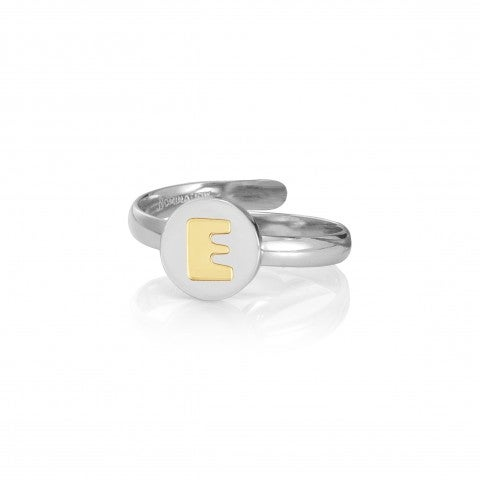 Ring_with_Letter_E_in_Gold_Ring_in_stainless_steel_with_Letter_in_18K_gold
