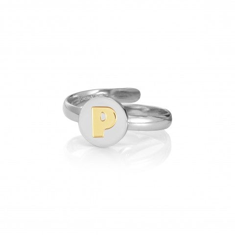 Ring_with_Letter_P_in_Gold_Ring_in_stainless_steel_with_disk_in_18K_gold