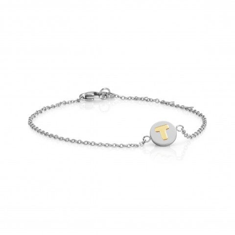 Bracelet_with_Letter_T_in_Gold_Bracelet_in_stainless_steel_with_disk_in_18K_gold