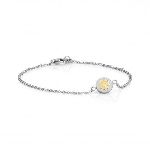 Bracelet_with_Four-Leaf_Clover_symbol_in_Gold_Bracelet_in_stainless_steel_and_18K_gold_Good_Luck_symbol