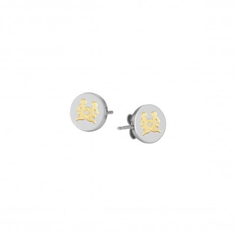 Earrings_with_Gemini_symbol_in_Gold_Earrings_in_stainless_steel_and_18K_gold_Zodiac