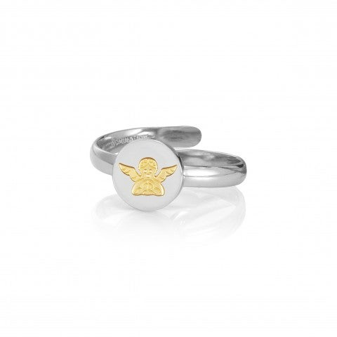 Ring_with_Angel_symbol_in_Gold_Ring_in_stainless_steel_and_18K_gold_Protection_symbol