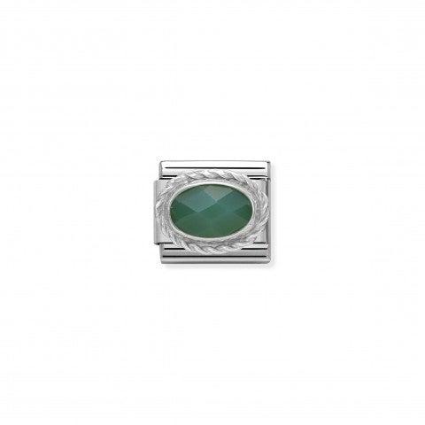 Link_Composable_Classic_argento_con_Agata_verde_Link_in_argento_925_con_Pietra_colorata