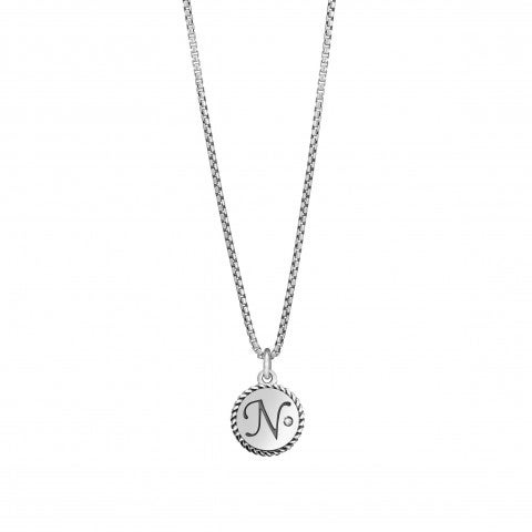 Necklace_with_Letter_N_in_Silver_and_Gemstone_Necklace_with_pendant_in_silver_and_Zirconia
