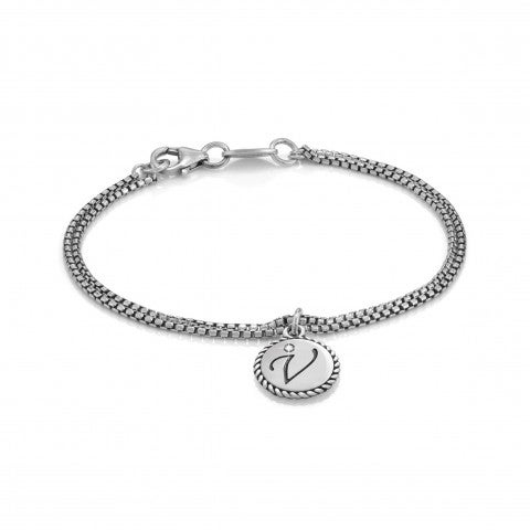 Bracelet_with_Letter_V_in_Silver_and_Gemstone__Bracelet_in_Sterling_Silver_with_Letter_of_the_alphabet
