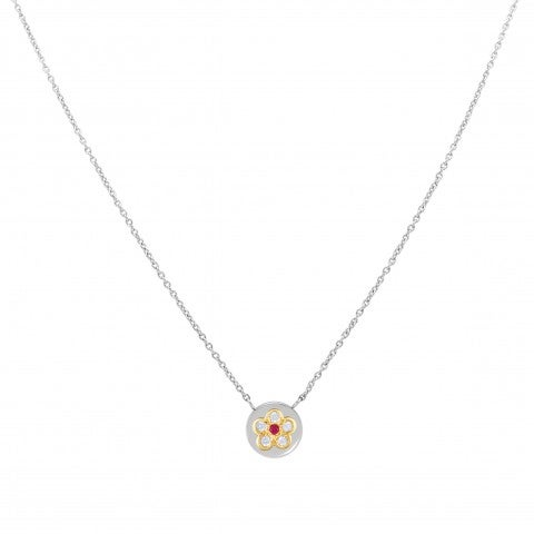 Necklace_with_coloured_Flower_and_Cubic_Zirconia_Necklace_in_stainless_steel_and_Cubic_Zirconia_Flower_pendant