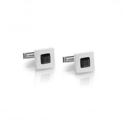 Bond_Cufflinks_in_Stainless_Steel_and_Onyx_Men's_square-shaped_cufflinks