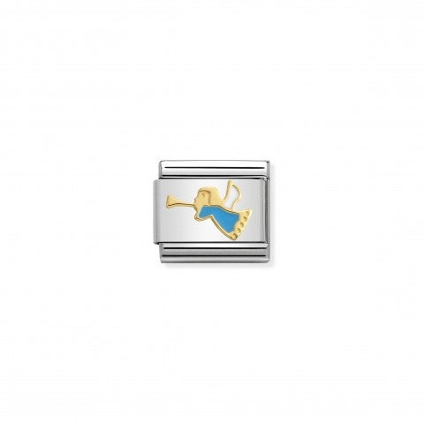 Composable_Classic_Link_Gold_and_blue_Angel_Stainless_steel_Link_with_enamel_Merry_Christmas_symbols