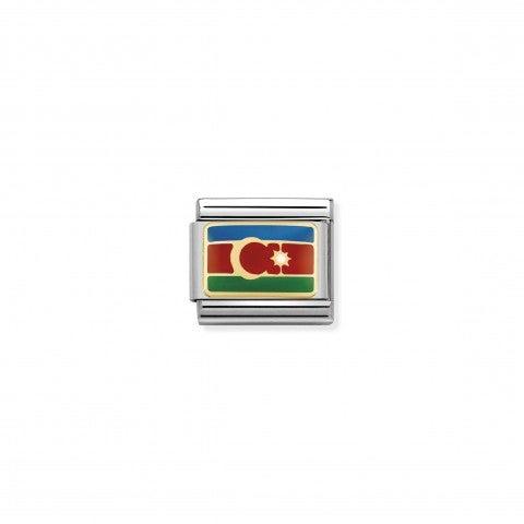Link_Composable_Classic_Bandiera_Azerbaijan_Link_bandiera_in_Acciaio_e_Smalto_colorato