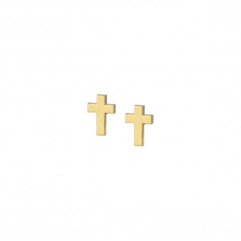 Earrings_with_9K_Gold_Cross_Pendant_Earrings_in_stainless_steel_with_Cross_pendant