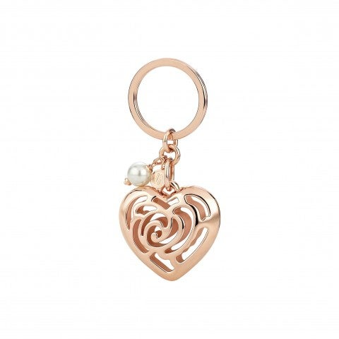 Key_Chains_with_Heart_Pendant_and_Pearl_24K_rose_gold,_copper_and_brass_Keychain