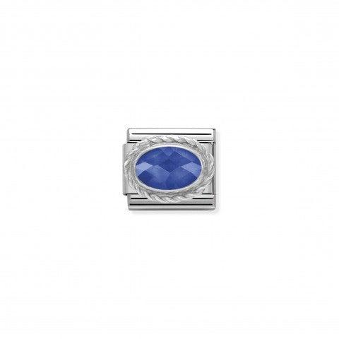 Link_Composable_Classic_argento_con_pietra_Link_in_acciaio_e_argento_Cubic_Zirconia_blu
