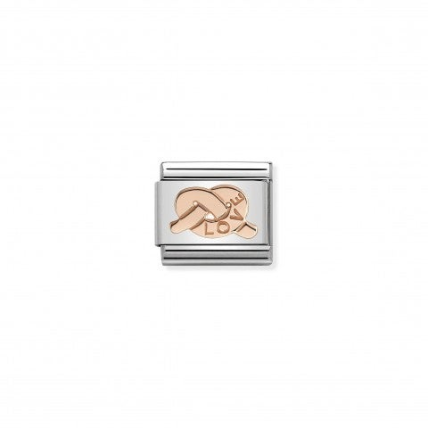 Composable_Classic_Link_Knot_Love_Link_in_stainless_steel_with_9K_rose_gold_Knot