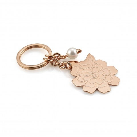 Brass_and_Bronze_Key_Rings_with_flower_Key_rings_for_her_with_nature_symbol