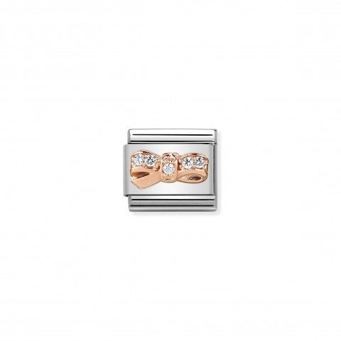 Composable_Classic_Link_Rose_Gold_and_Zirconia_Bow_Link_in_stainless_steel_with_symbol_in_rose_gold