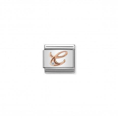 Link_Composable_Classic_Lettera_C_in_Oro_Rosa_e_Pietra_Link_Classic_in_Acciaio_e_Swarovski_Zirconia_con_lettera