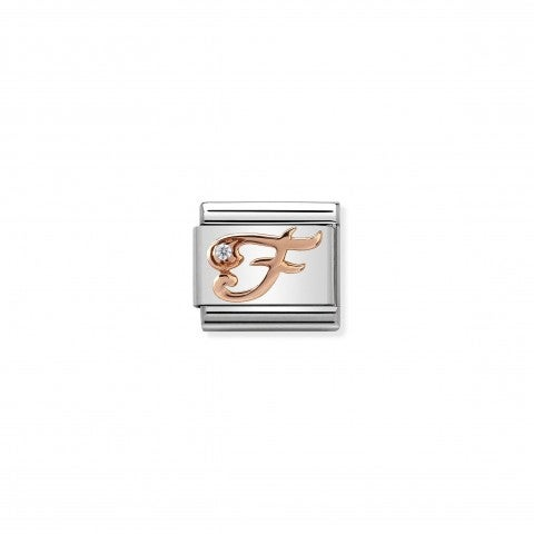 Composable_Classic_Link_Letter_F_in_Rose_Gold_and_Cubic_Zirconia_Link_with_Cursive_Letter_in_rose_gold_and_Zirconia