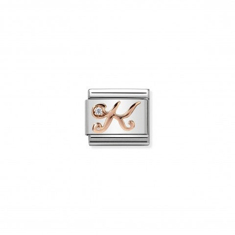 Composable_Classic_Link_Letter_K_in_Rose_Gold_and_Cubic_Zirconia_Link_with_Letter_K_in_steel,_9K_rose_gold_and_Zirconia