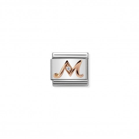 Composable_Classic_Link_Letter_M_in_Rose_Gold_and_Cubic_Zirconia_Link_with_Alphabet_Letter_in_9K_rose_gold_and_Zirconia