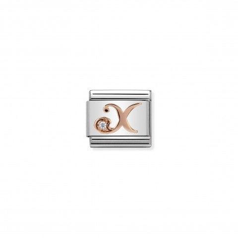 Link_Composable_Classic_Lettera_X_in_Oro_Rosa_e_Pietra_Link_con_lettera_X_in_Oro_rosa_375_e_Zircone_bianco