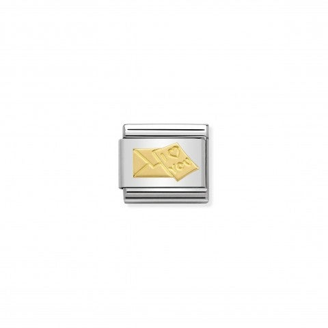 Composable_Classic_Link_Envelope_and_Letter_Link_in_stainless_steel_and_18K_gold_with_Love_symbol