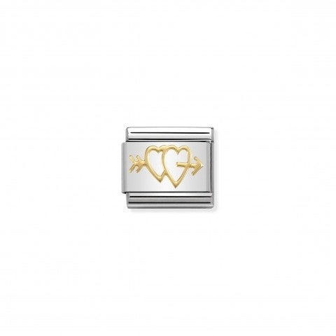 Composable_Classic_Link_Double_Hearts_with_Arrow_Stainless_steel_Link_with_18K_gold_Double_Hearts