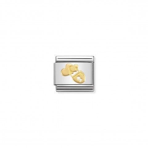 Link_Composable_Classic_Lucchetto_con_Cuori_Link_in_Acciaio_con_simbolo_in_Oro_750