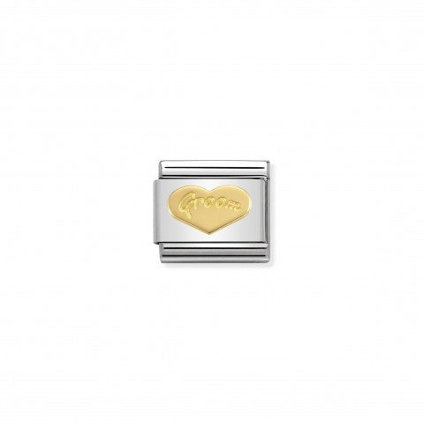 "Link_Composable_Classic_Cuore_Groom_Link_con_scritta_""Sposa""_in_Oro_750"