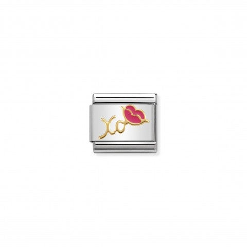 Composable_Classic_Link_XO_with_Fuchsia_Lips_Link_with_symbol_in_enamel_and_18K_gold